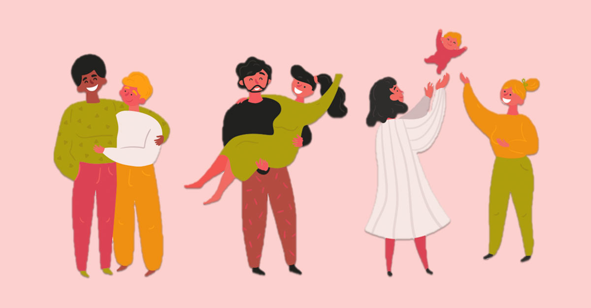 an illustration of a group of diverse couples on a yellow background