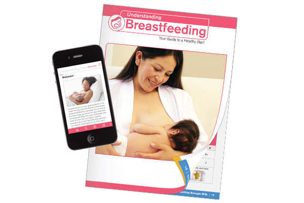 Understanding Breastfeeding book and web app displayed on smart phone
