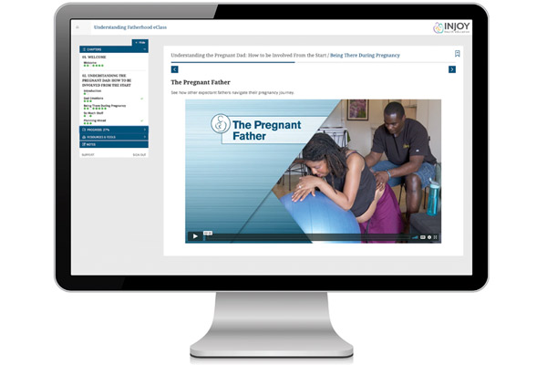 Understanding Fatherhood eClass displayed on a computer monitor