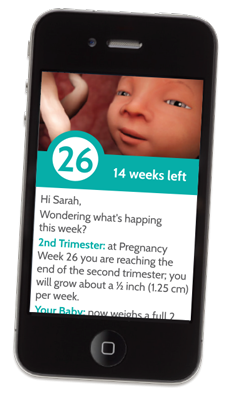 mockup of phone with custimzed pregnancy email on screen