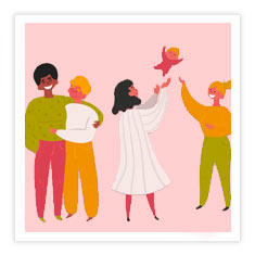 an illustration of a group of diverse couples and families on a pink background