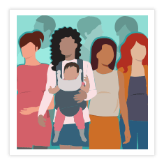 Illustration of a group of pregnant women